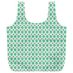 Crown King Triangle Plaid Wave Green White Full Print Recycle Bags (l)