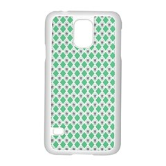 Crown King Triangle Plaid Wave Green White Samsung Galaxy S5 Case (white)