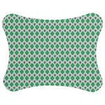 Crown King Triangle Plaid Wave Green White Jigsaw Puzzle Photo Stand (Bow) Front
