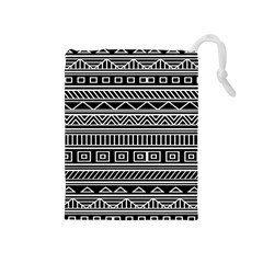 Myria Wrapping Paper Black Drawstring Pouches (medium)  by Alisyart