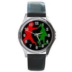 Ninja Graphics Red Green Black Round Metal Watch by Alisyart