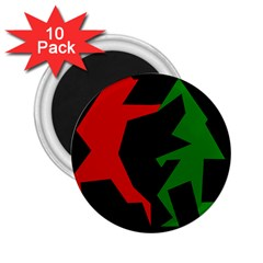 Ninja Graphics Red Green Black 2 25  Magnets (10 Pack)  by Alisyart
