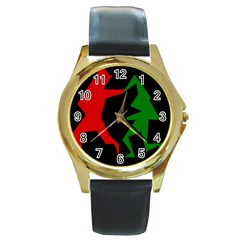 Ninja Graphics Red Green Black Round Gold Metal Watch by Alisyart