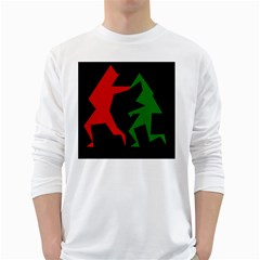 Ninja Graphics Red Green Black White Long Sleeve T Shirts by Alisyart