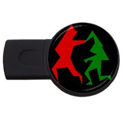 Ninja Graphics Red Green Black Usb Flash Drive Round (4 Gb) by Alisyart
