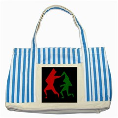 Ninja Graphics Red Green Black Striped Blue Tote Bag by Alisyart