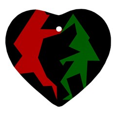 Ninja Graphics Red Green Black Heart Ornament (two Sides) by Alisyart