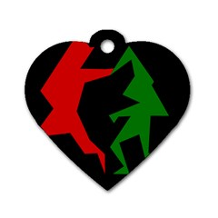 Ninja Graphics Red Green Black Dog Tag Heart (two Sides) by Alisyart