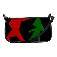 Ninja Graphics Red Green Black Shoulder Clutch Bags