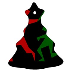 Ninja Graphics Red Green Black Christmas Tree Ornament (two Sides) by Alisyart