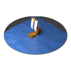 Low Poly Boat Ship Sea Beach Blue Oval Magnet by Alisyart