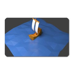 Low Poly Boat Ship Sea Beach Blue Magnet (rectangular) by Alisyart