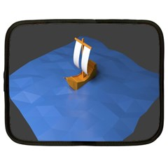 Low Poly Boat Ship Sea Beach Blue Netbook Case (xxl)