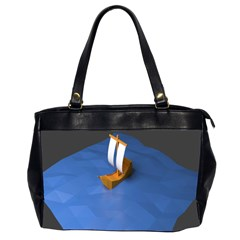 Low Poly Boat Ship Sea Beach Blue Office Handbags (2 Sides)  by Alisyart