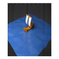 Low Poly Boat Ship Sea Beach Blue Shower Curtain 60  X 72  (medium)  by Alisyart