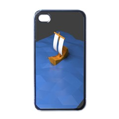 Low Poly Boat Ship Sea Beach Blue Apple Iphone 4 Case (black) by Alisyart
