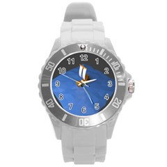 Low Poly Boat Ship Sea Beach Blue Round Plastic Sport Watch (l) by Alisyart