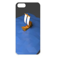 Low Poly Boat Ship Sea Beach Blue Apple Iphone 5 Seamless Case (white) by Alisyart