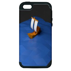Low Poly Boat Ship Sea Beach Blue Apple Iphone 5 Hardshell Case (pc+silicone)