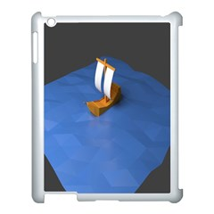 Low Poly Boat Ship Sea Beach Blue Apple Ipad 3/4 Case (white) by Alisyart