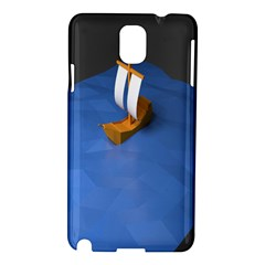 Low Poly Boat Ship Sea Beach Blue Samsung Galaxy Note 3 N9005 Hardshell Case