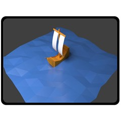 Low Poly Boat Ship Sea Beach Blue Double Sided Fleece Blanket (large)