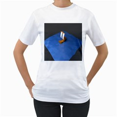 Low Poly Boat Ship Sea Beach Blue Women s T-shirt (white)  by Alisyart
