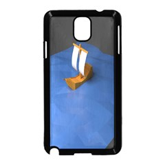 Low Poly Boat Ship Sea Beach Blue Samsung Galaxy Note 3 Neo Hardshell Case (black) by Alisyart