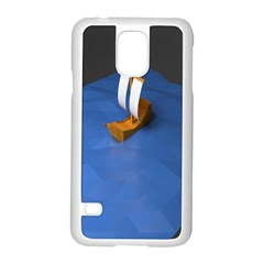 Low Poly Boat Ship Sea Beach Blue Samsung Galaxy S5 Case (white)