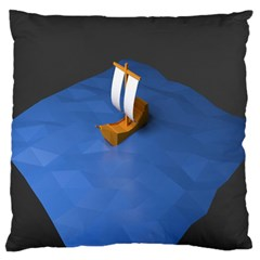 Low Poly Boat Ship Sea Beach Blue Standard Flano Cushion Case (two Sides) by Alisyart