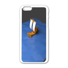 Low Poly Boat Ship Sea Beach Blue Apple Iphone 6/6s White Enamel Case by Alisyart