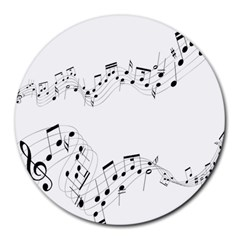 Music Note Song Black White Round Mousepads by Alisyart