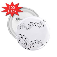 Music Note Song Black White 2 25  Buttons (100 Pack)  by Alisyart