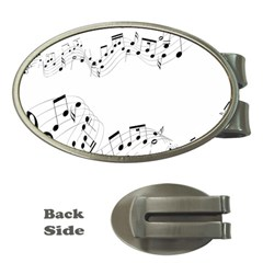 Music Note Song Black White Money Clips (oval)  by Alisyart