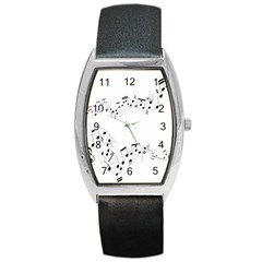 Music Note Song Black White Barrel Style Metal Watch by Alisyart