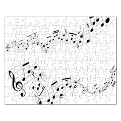 Music Note Song Black White Rectangular Jigsaw Puzzl by Alisyart