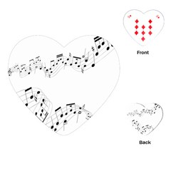 Music Note Song Black White Playing Cards (heart)  by Alisyart