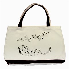 Music Note Song Black White Basic Tote Bag by Alisyart