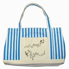 Music Note Song Black White Striped Blue Tote Bag by Alisyart