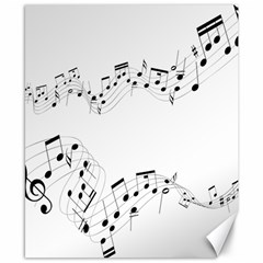 Music Note Song Black White Canvas 8  X 10  by Alisyart