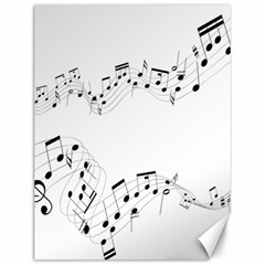 Music Note Song Black White Canvas 12  X 16   by Alisyart