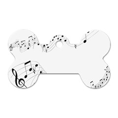 Music Note Song Black White Dog Tag Bone (two Sides) by Alisyart