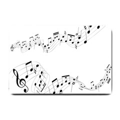 Music Note Song Black White Small Doormat  by Alisyart
