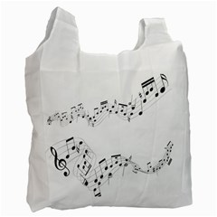 Music Note Song Black White Recycle Bag (two Side)  by Alisyart