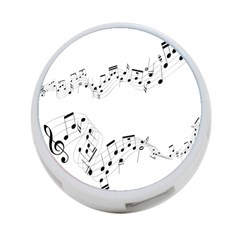 Music Note Song Black White 4 Port Usb Hub (one Side) by Alisyart