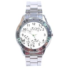 Music Note Song Black White Stainless Steel Analogue Watch by Alisyart