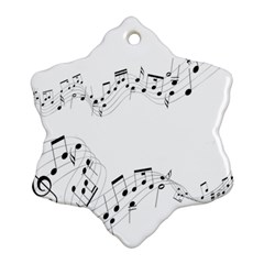 Music Note Song Black White Snowflake Ornament (two Sides)