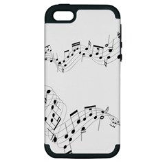 Music Note Song Black White Apple Iphone 5 Hardshell Case (pc+silicone)