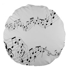 Music Note Song Black White Large 18  Premium Round Cushions