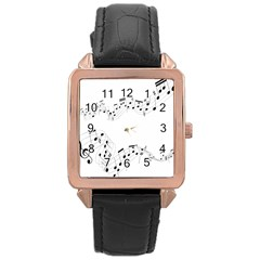 Music Note Song Black White Rose Gold Leather Watch  by Alisyart